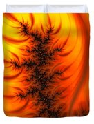 Yellow And Orange Fractal Fire Duvet Cover