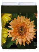 Yellow And Peach Daisy Duvet Cover