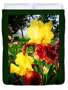 Yellow And Purple Iris Duvet Cover