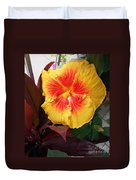 Yellow And Red Hibiscus Duvet Cover