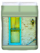Art Deco Lamp And Yellow And Turquoise Window Duvet Cover