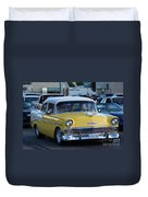 Yellow And White Classic Chevy Duvet Cover