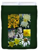 Yellow And White Flower Collage Duvet Cover