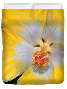 Yellow And White Hibiscus Duvet Cover