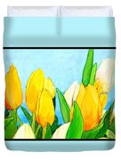 Yellow And White Tulips Duvet Cover