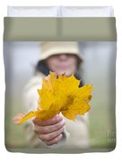 Yellow Autumn Leaf Duvet Cover