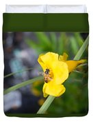 Yellow Bell Flower With Honeybee Duvet Cover