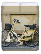 Yellow Bicycle In Copenhagen Duvet Cover