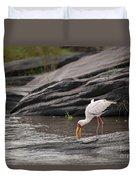 Yellow-billed Stork Fishing In River Duvet Cover