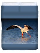 Yellow-billed Stork Hunting For Food Duvet Cover