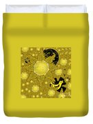 Yellow Bird Sings In The Sunflowers Duvet Cover