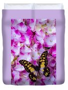 Yellow Black Butterfly On Hydrangea Duvet Cover
