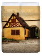 Yellow Building And Wall In Rothenburg Germany Duvet Cover