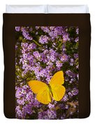 Yellow Butterfly On Pink Flowers Duvet Cover