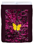 Yellow Butterfly On Red Flowering Bush Duvet Cover
