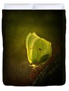 Yellow Butterfly Sitting On The Moss  Duvet Cover
