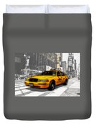 Yellow Cab At The Times Square -comic Duvet Cover