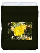 Yellow Cactus Blooms And Buds Duvet Cover
