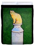 Yellow Cat On Milk Can Duvet Cover