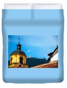 Yellow Church And Monserrate Duvet Cover