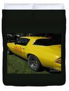 Yellow Classic Car Diablo At The Show Duvet Cover