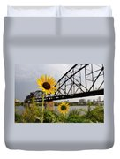 Yellow Cone Flowers And Bridge Duvet Cover