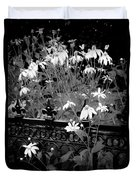 Yellow Coneflowers Echinacea Wrought Iron Gate Bw Duvet Cover