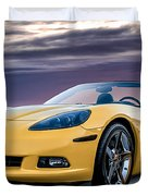Yellow Corvette Convertible Duvet Cover