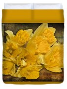 Yellow Daffodils And Texture Duvet Cover