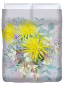 Yellow Dahlias And Peruvian Lilies Duvet Cover