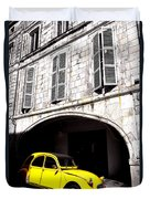 Yellow Deux Chevaux In Shadow Duvet Cover