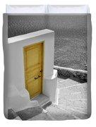Yellow Door Of Oia Duvet Cover