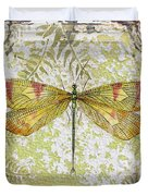 Yellow Dragonfly On Vintage Tin Duvet Cover