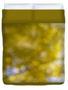 Yellow Fall Foliage Blurred Background Duvet Cover