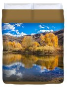 Yellow Fall Reflections Duvet Cover by Robert Bales
