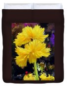 Yellow Flower With Splatter Background Duvet Cover
