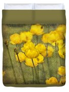 Yellow Flowers With Texture Duvet Cover