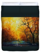 Yellow Fog 2 - Palette Knife Oil Painting On Canvas By Leonid Afremov Duvet Cover