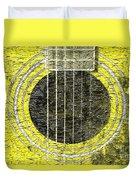 Yellow Guitar - Digital Painting - Music Duvet Cover