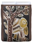 Yellow Head Brown Owl Bird On The Tree Duvet Cover