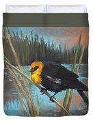 Yellow Headed Black Bird Duvet Cover
