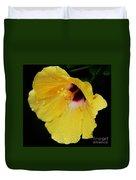 Yellow Hibiscus In The Rain Duvet Cover