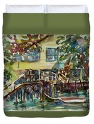 Yellow House By The River Duvet Cover