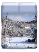 Yellow House In Winter Duvet Cover