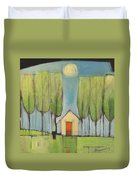 Yellow House In Woods Duvet Cover