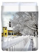 Yellow House With Snow Covered Picket Fence Duvet Cover