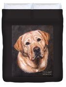 Yellow Labrador Portrait - Dark Yellow Dog Duvet Cover