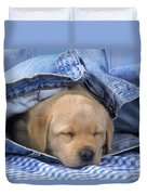 Yellow Labrador Puppy Asleep In Jeans Duvet Cover