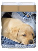 Yellow Labrador Puppy In Jeans Duvet Cover
