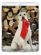 Yellow Labrador With Stocking Duvet Cover